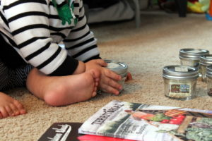 baby helping test old seeds