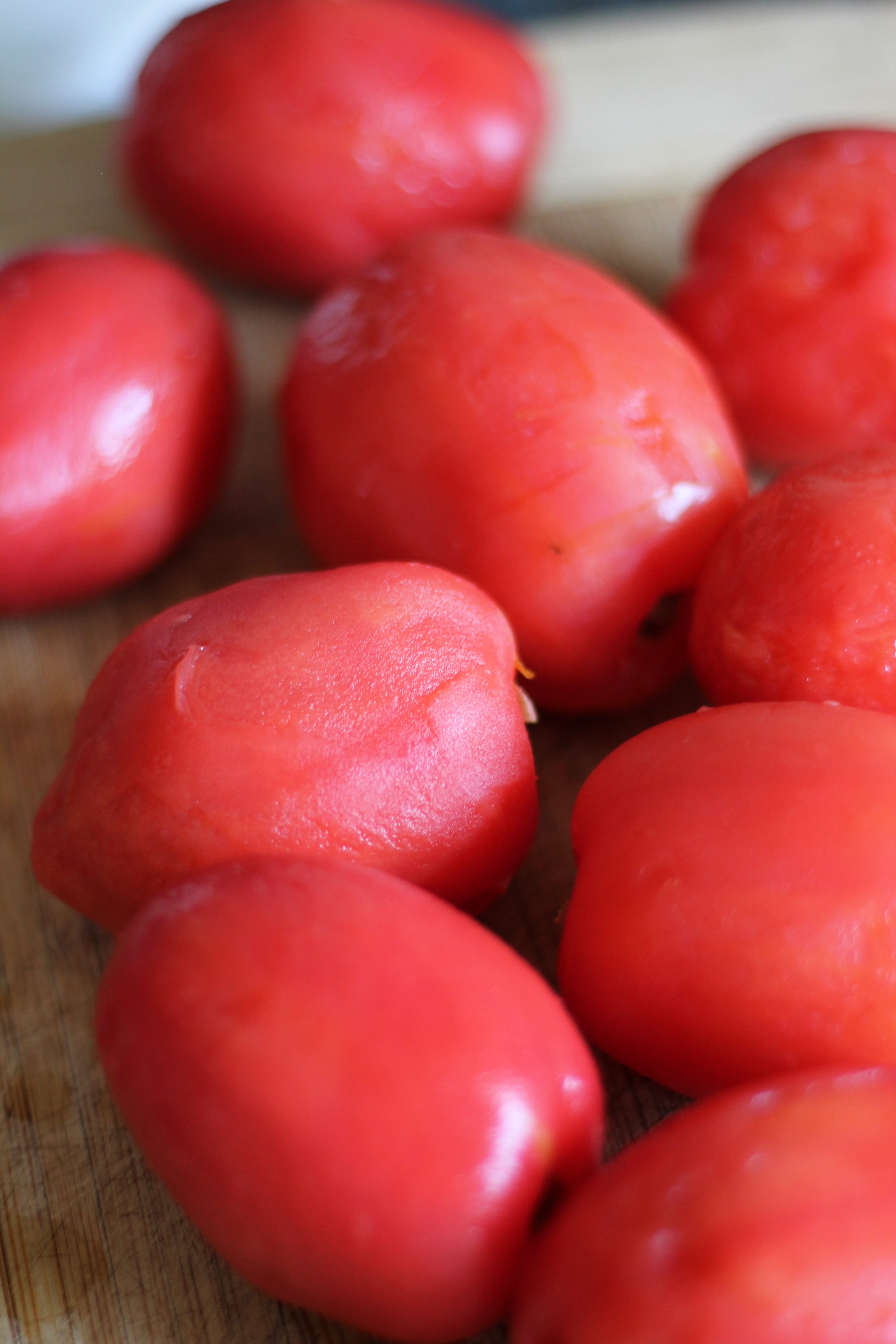 peeled and de-seeded tomatoes for canning