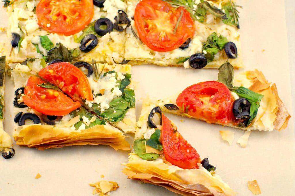 greek-style phyllo pizza recipe