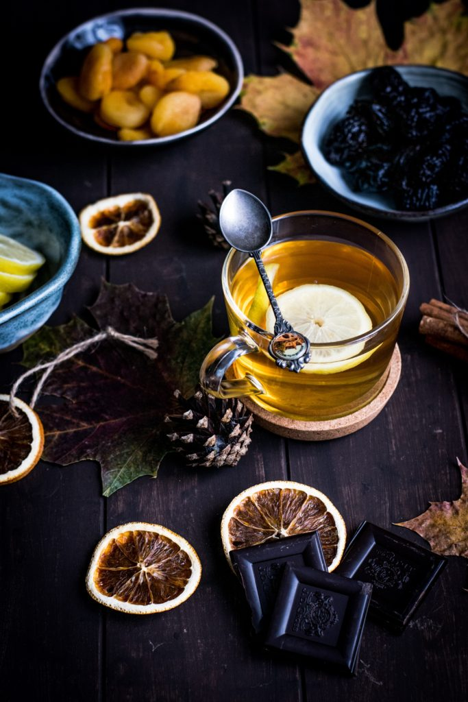 herbal tea with citrus, chocolate and dates