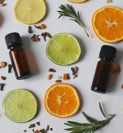 slices of citrus and essential oils