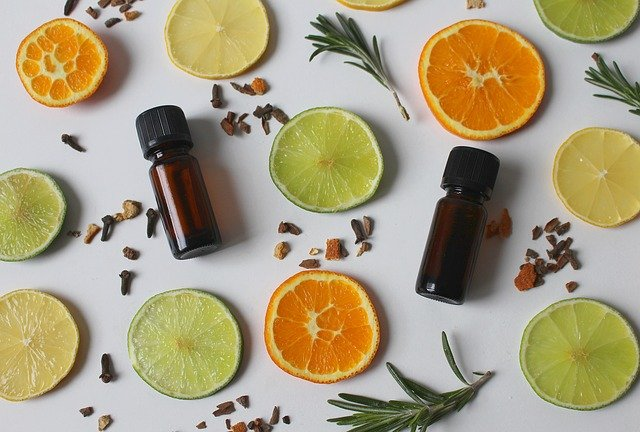 slices of citrus and essential oils