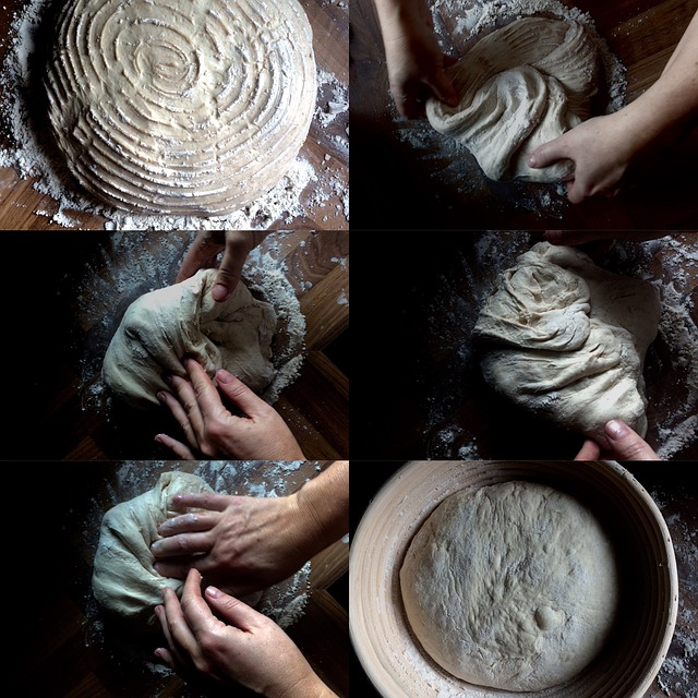 the process of kneading and baking with sourdough