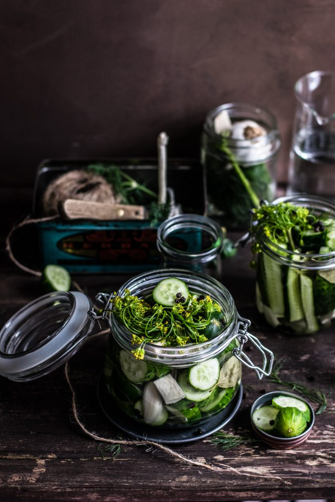 cucumbers and dill in a canning jar