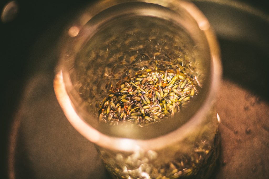 lavender in oil in a crockpot