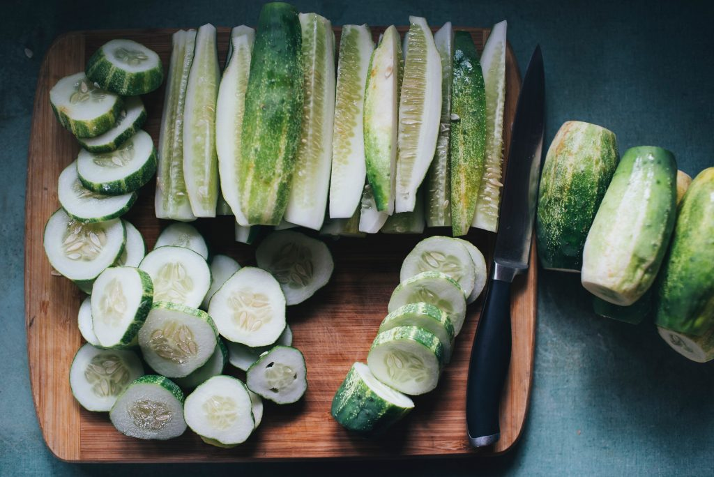 cucumbers cut into wedge and rounds