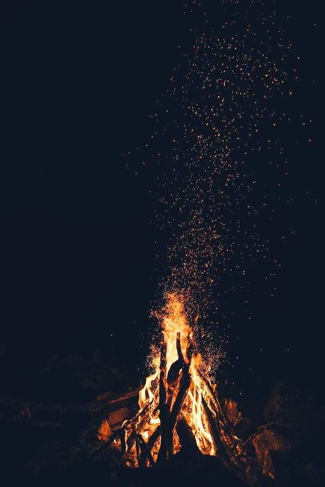 campfire built into a tee-pee