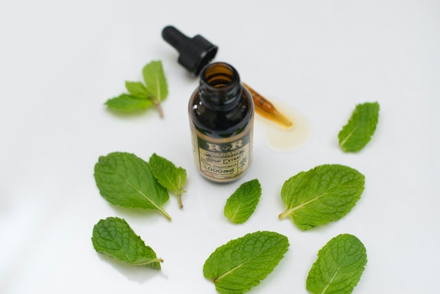 herbal tincture surrounded by mint leaves