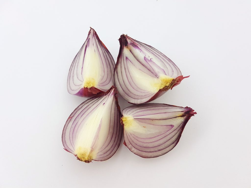 onions cut into quarters