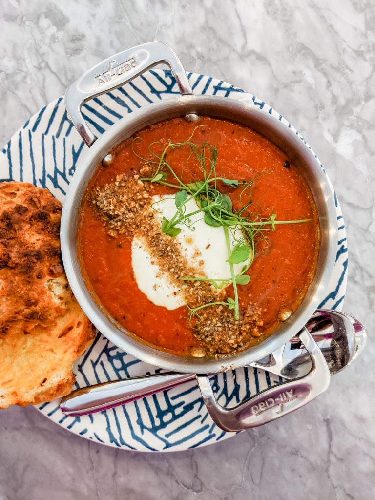 homemade tomato soup with crusty bread