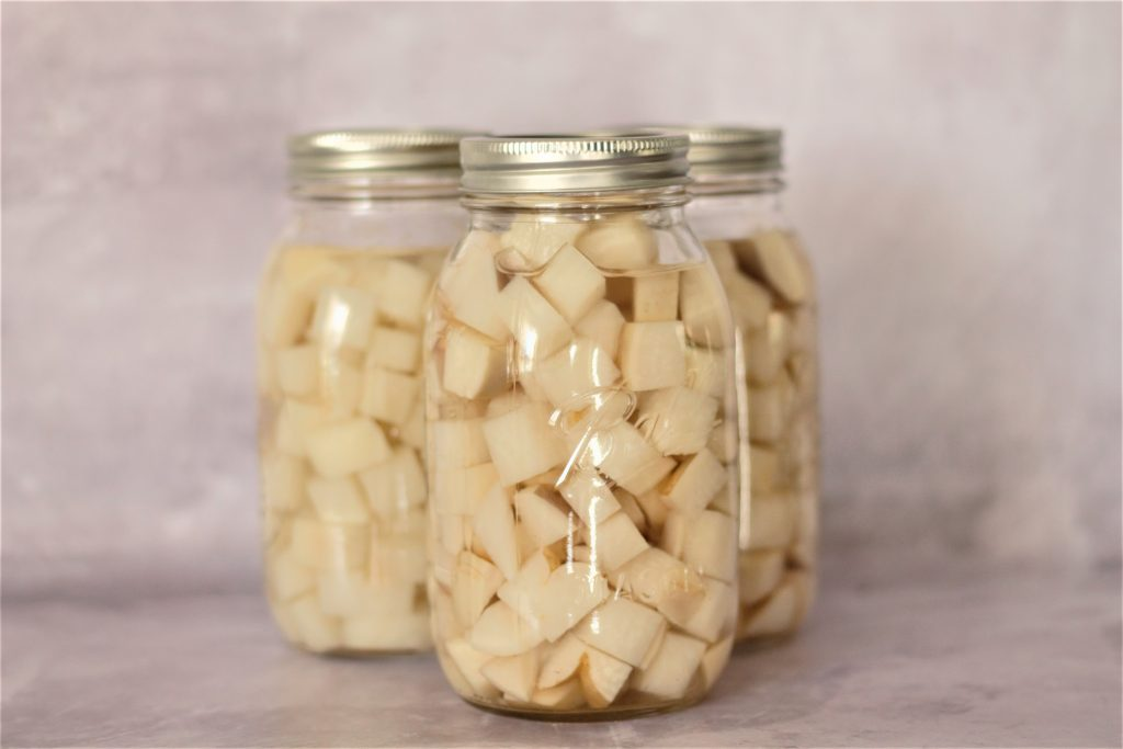 canned turnips in mason jars