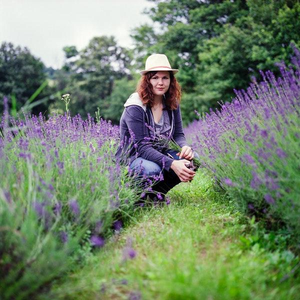 woman in a lavender garden