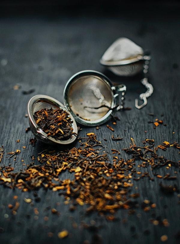 loose tea in a tea ball
