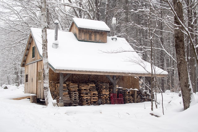 sugar shack for making maple syrup