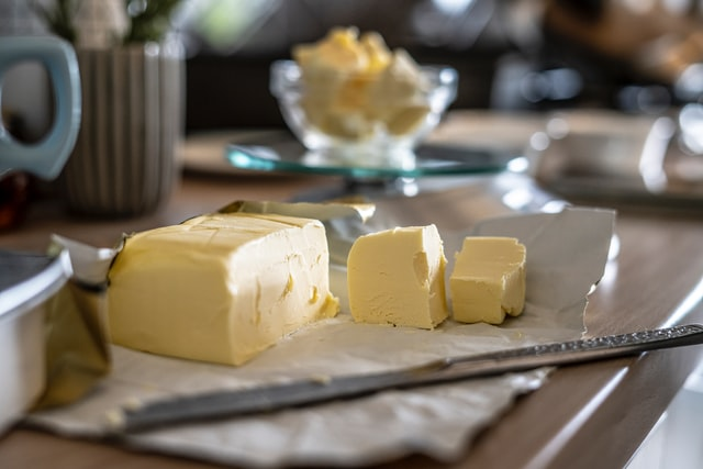 homemade butter on a kitchen table
