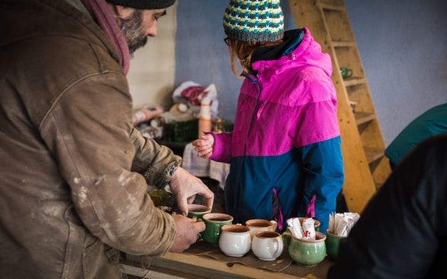 warm clothes and warm drinks to keep warm in winter