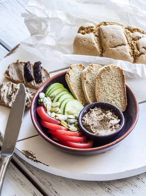 beef liver pate with toast, cucumbers and tomatoes