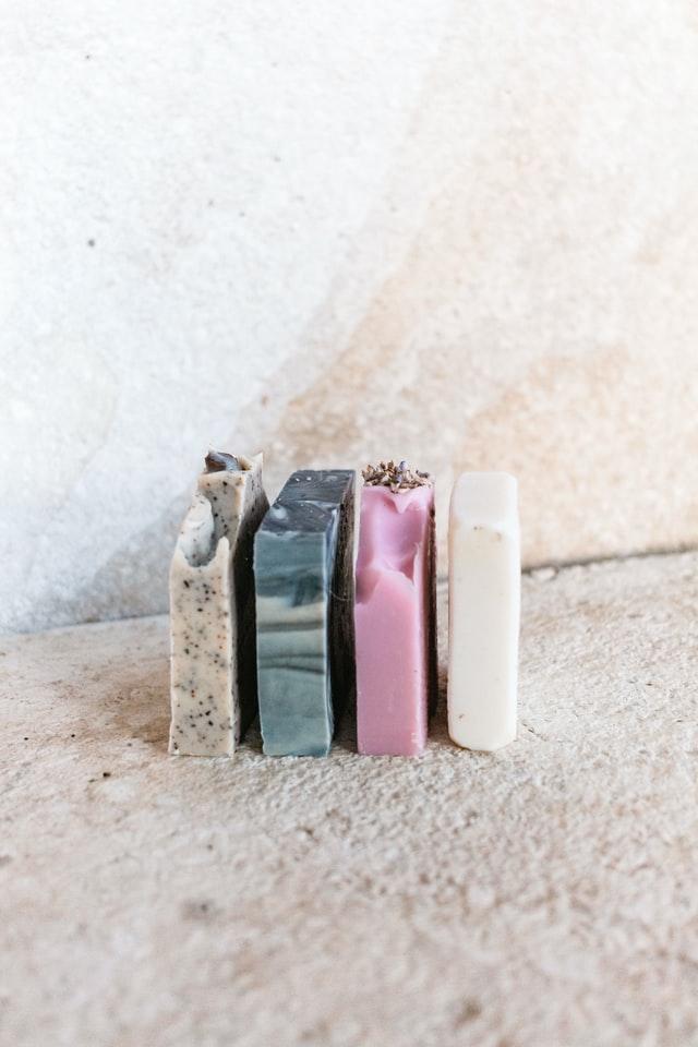 four bars of homemade soap