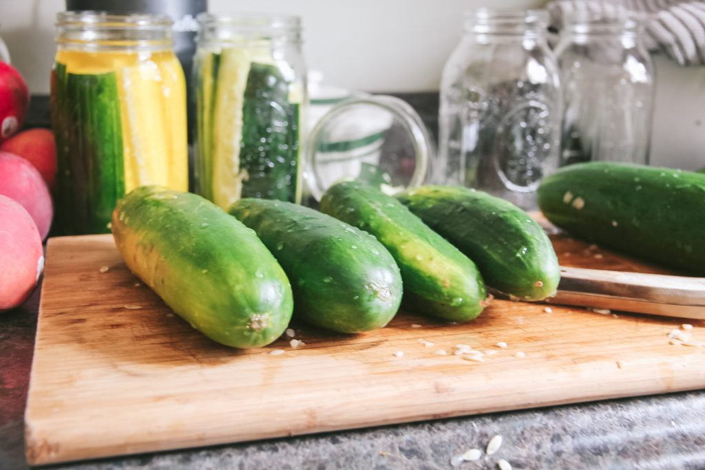 slicing cucumbers ready to be made into pickles